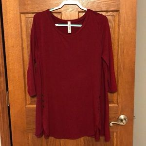 Maroon Button Front Tunic Top NWOT